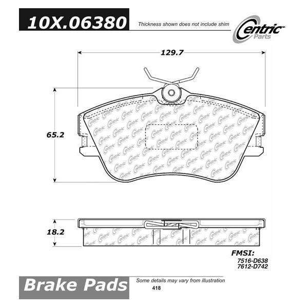 Front Axxis Brake Pads 1990 - 1995 VW Eurovan 108.06380