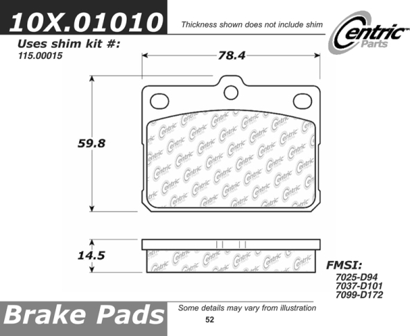 Front Axxis Ultimate Ceramic Brake Pads Honda Toyota 109.01010