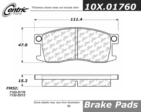 Front Axxis Deluxe Brake Pads 1975 - 1989 Honda Civic 107.01760