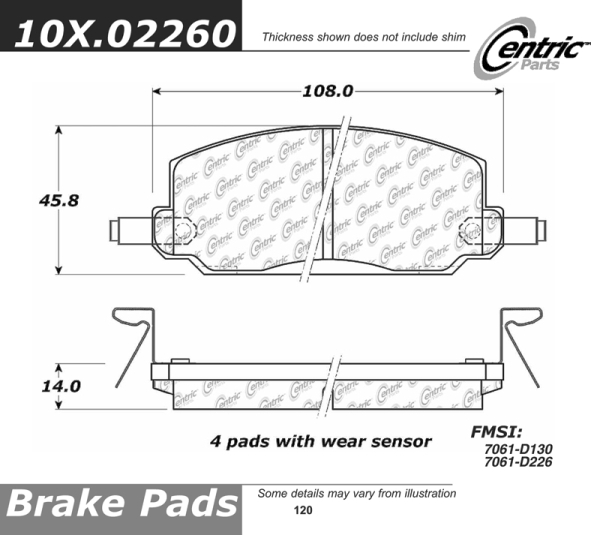 Front Standard Semi-Metallic Brake Pads Honda Accord PMD130