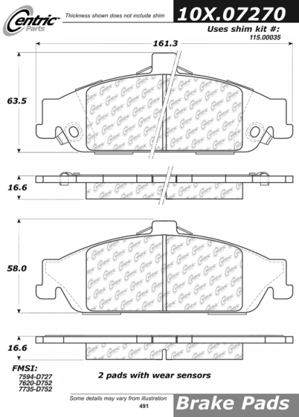 Front Axxis Ultimate Ceramic Brake Pads Chevrolet 109.07270