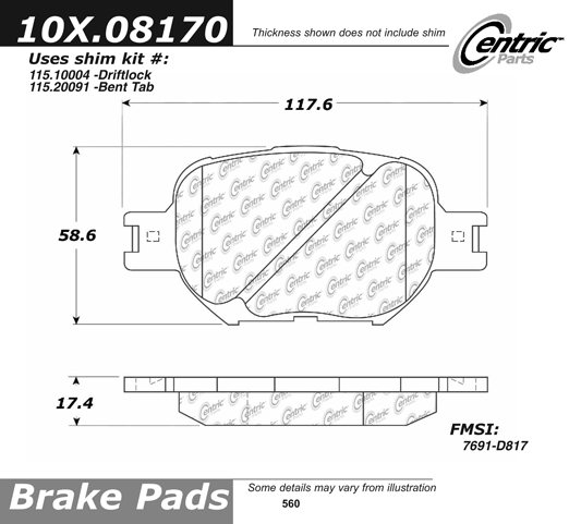 Front Axxis Ultimate Ceramic Brake Pads Toyota Scion