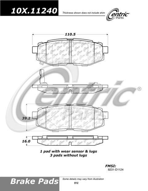Rear Ceramic Brake Pads Subaru Tribeca PCD1124