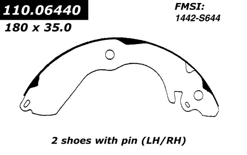 644RP Brake Shoes 1990 - 1996 Dodge Eagle