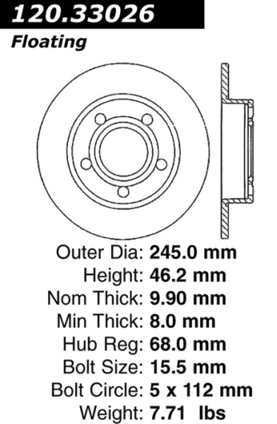 Rear Balo MADE IN GERMANY Brake Disc 443615601B