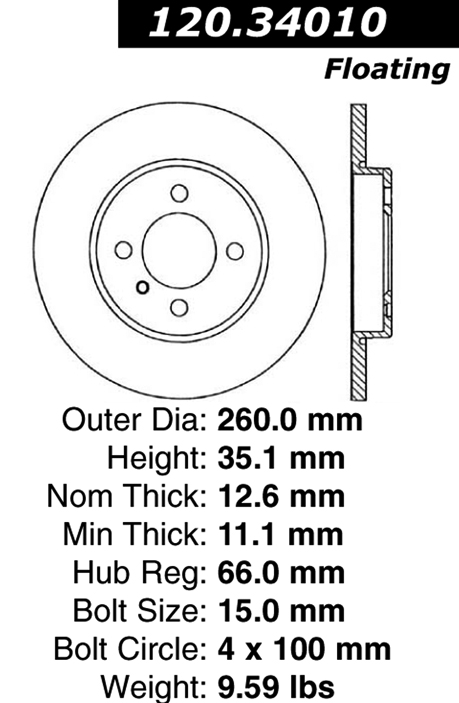 Front Brake Rotor BMW 318i 318is 9829