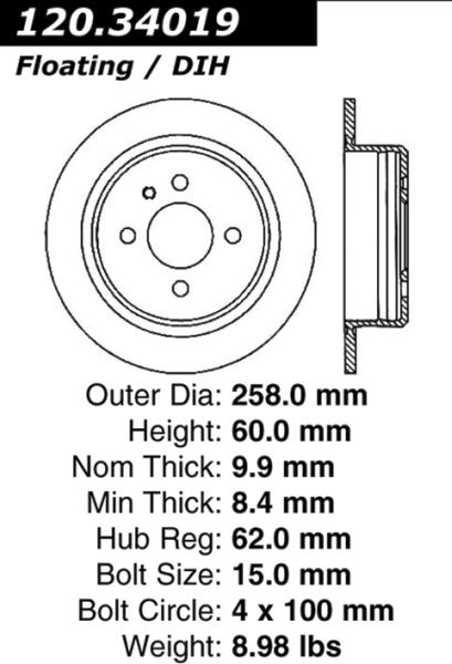 rear standard solid brake rotor disc bmw 318 325 9898