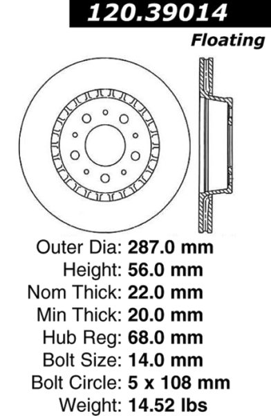 Front Centric Brake Rotor Volvo with ABS 120.39014