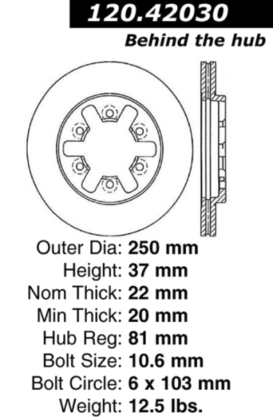 Front Standard Brake Rotor Nissan Pickup 2WD 4 Cyl 9920