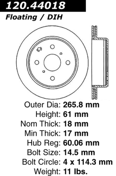 Rear Standard Brake Rotor Toyota 96282