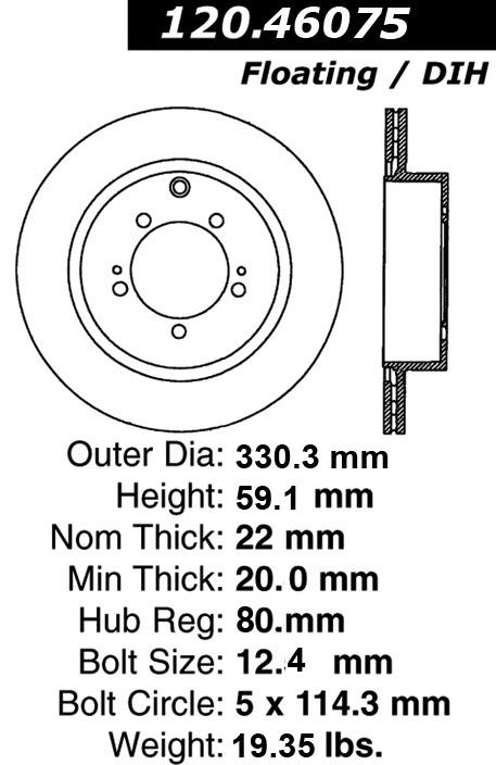 Rear C Tek Brake Rotor Mitsubishi 121 46075 121 46075