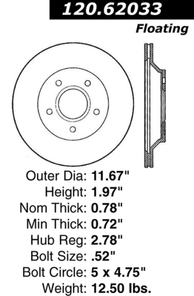 Rear C-Tek Brake Rotor Chevy GM 121.62033