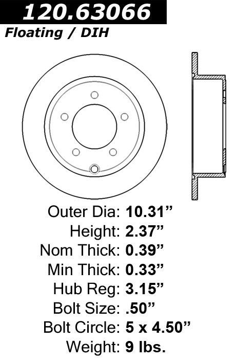 Rear C-Tek Brake Rotor Jeep 121.63066