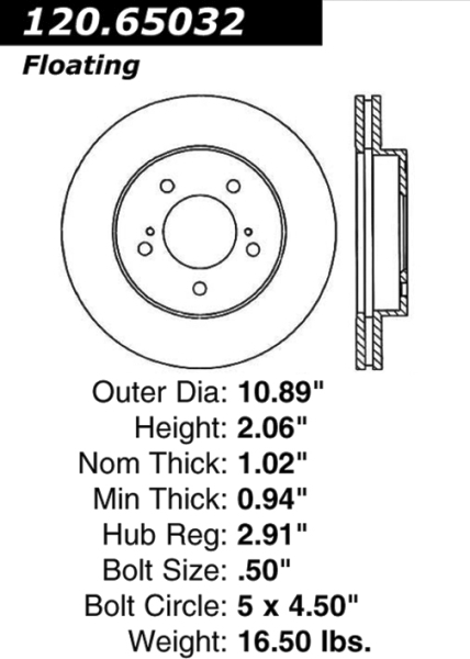 Front Standard Brake Rotor Ford Mercury Nissan 66327