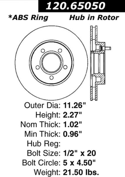 front premium brake rotor ford mazda 120 65050  120 65050