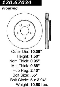 Front Standard Brake Rotor Disc 10 Diameter Dodge Chrysler