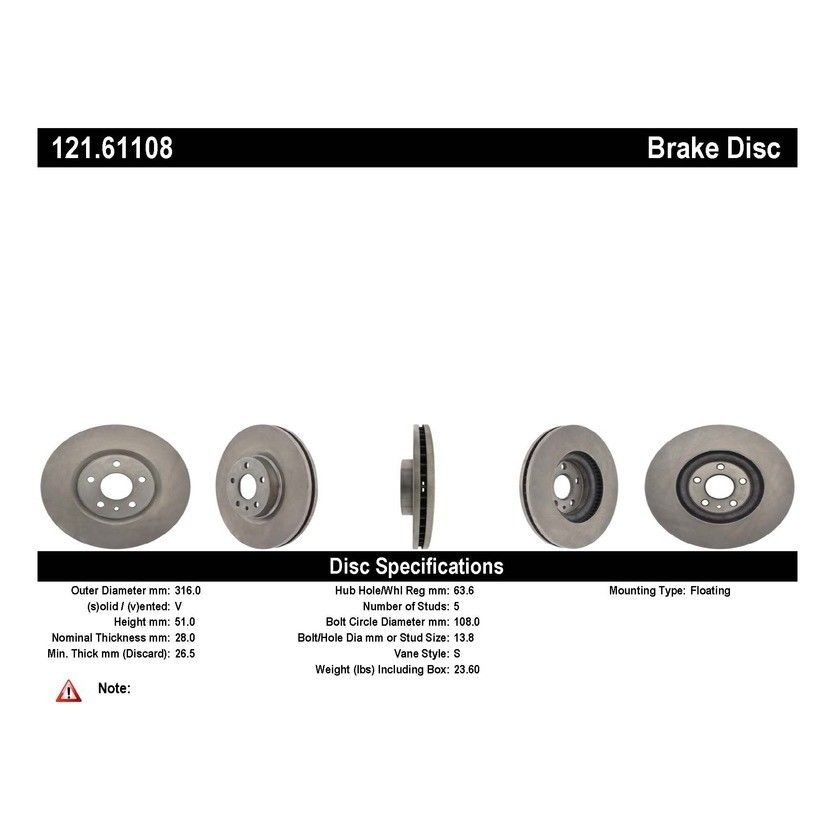 Front C Tek Brake Rotor Ford Fusion 121 61108