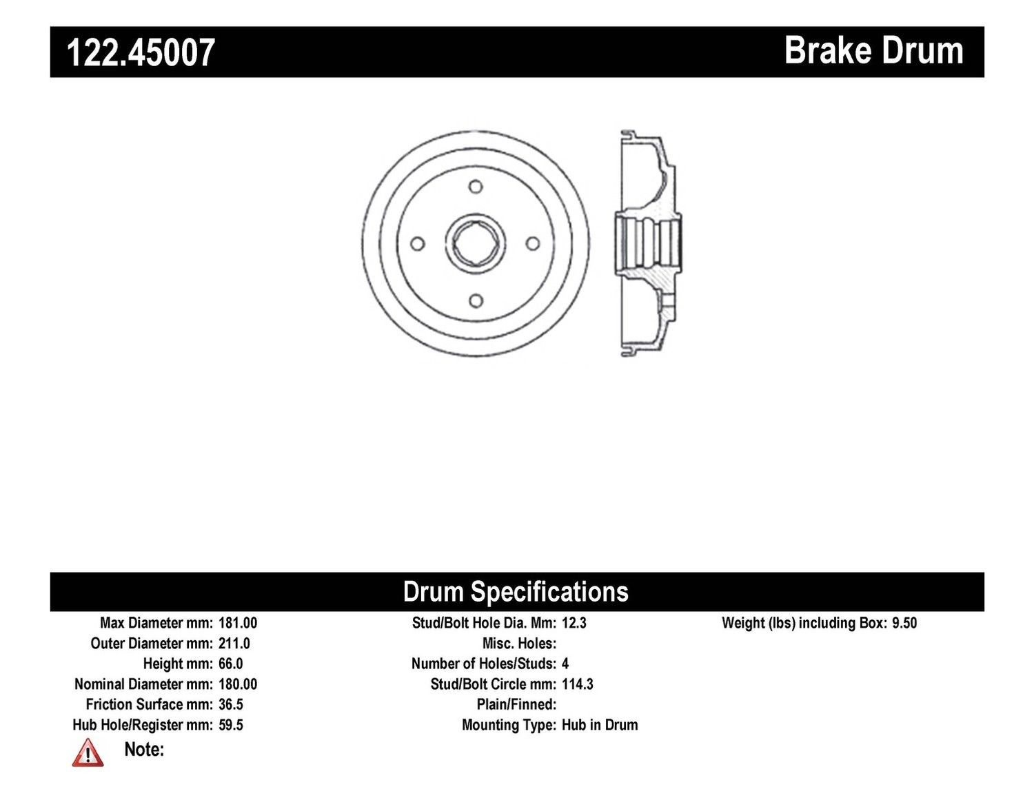 Centric Brake Drum Rear Mazda GLC Sedan 122.45007