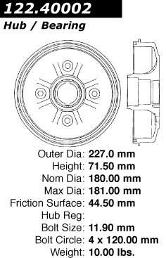 Rear Premium Brake Drum Honda Accord 122.40002