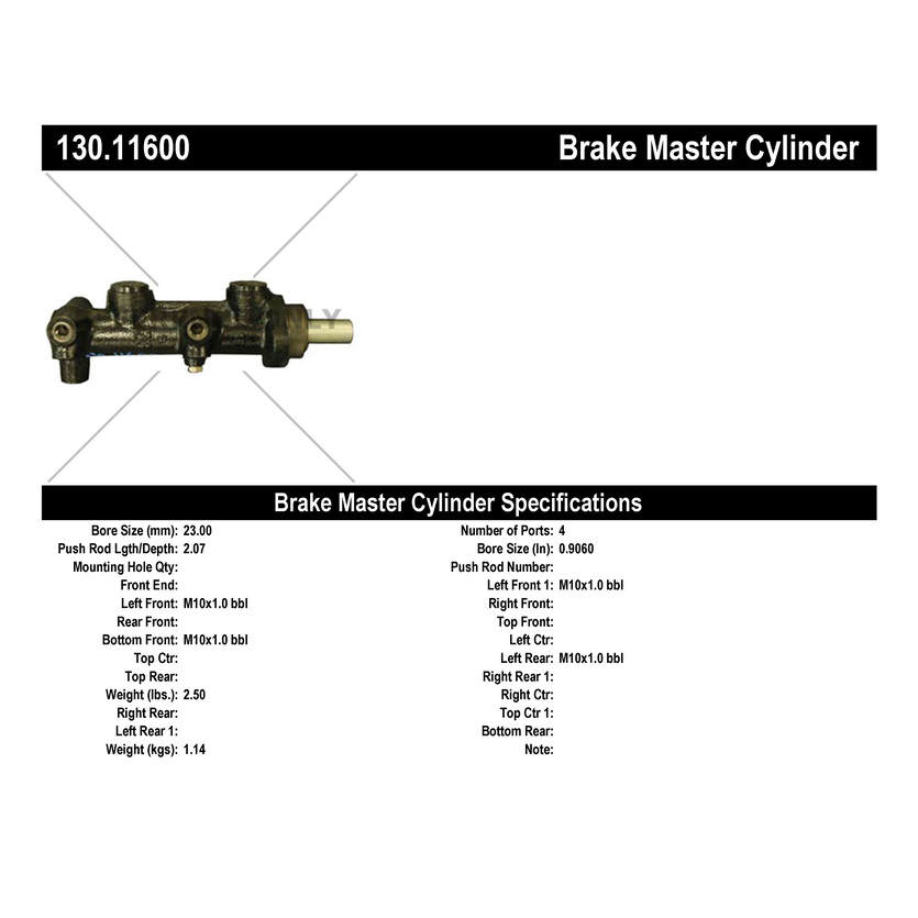 Centric Brake Master Cylinder Winnebago 130 11600 [130 11600] - $139 95 :  Auto Brake Center, Brake Pads, Rotors, All Cars, All Models, Free Local