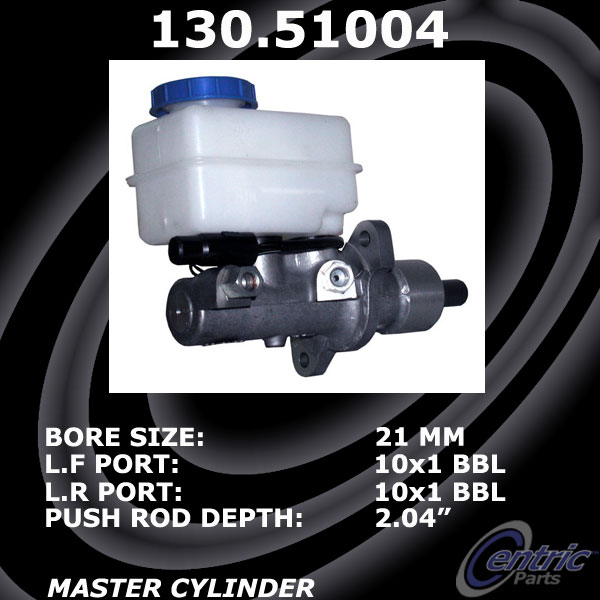 New Centric Brake Master Cylinder Without ABS Hyundai 130.51004