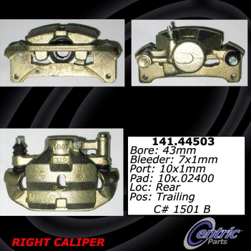 Rear Right Unloaded Rebuilt Brake Caliper Toyota 141.44503
