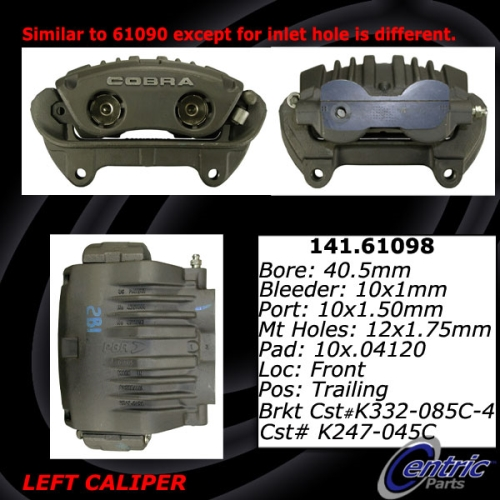 Front Left Unloaded Rebuilt Brake Caliper Cobra 141.61098 ...